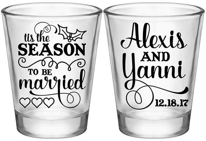 Tis the season to be married clipart graphic library download Tis The Season To Be Married (2A) Mistletoe Custom Shot Glasses Winter  Wedding Favors graphic library download