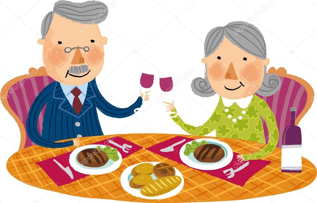 Tisch mit essen clipart graphic free stock Altes Ehepaar sitzt am Tisch mit Essen und Wein — Stockvektor ... graphic free stock