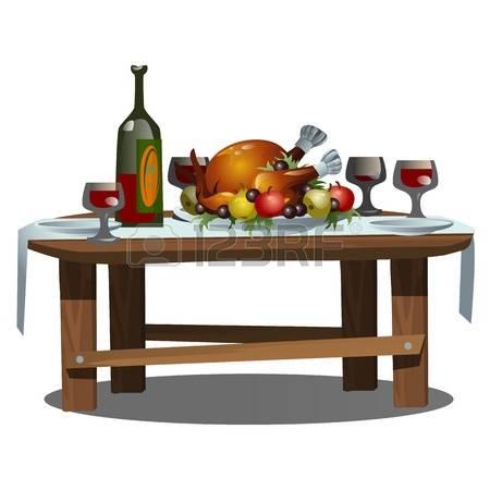 Tisch mit essen clipart clipart black and white stock Festlicher Tisch Lizenzfreie Vektorgrafiken Kaufen: 123RF clipart black and white stock
