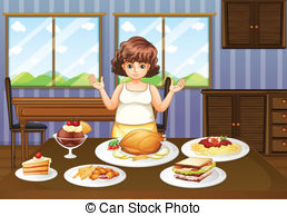 Tisch mit essen clipart svg stock Vector Clip Art of A fat lady in front of a table full of foods ... svg stock