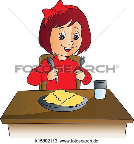 Tisch mit essen clipart graphic transparent stock Clipart - vektor, von, mädchen, mit, essen, auf, tisch. k15802113 ... graphic transparent stock