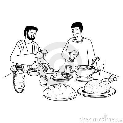 Tisch mit essen clipart graphic freeuse Ancient People Eating At The Table Royalty Free Stock Photography ... graphic freeuse