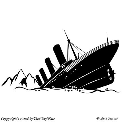 Titanic clipart black and white picture free library Sinking Ship Titanic (59 cm x 31 cm) Colour Black Bathroom ... picture free library