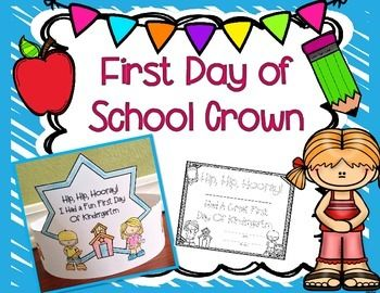 Tk and kinder back to schook night clipart jpg black and white stock FREE First Day of School Crowns | Back to School ... jpg black and white stock