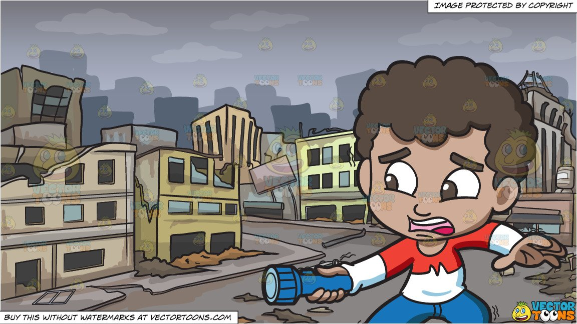 To afraid of ghoust clipart banner library library A Scared Black Boy Holding A Flashlight In The Dark and A Ghost City After  A Disaster Background banner library library