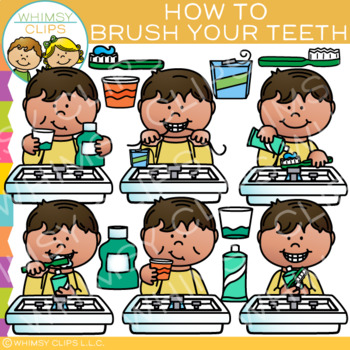 To brush your teeth clipart clip art black and white library How to Brush Your Teeth Clip Art: Sequencing and Dental Clip Art clip art black and white library