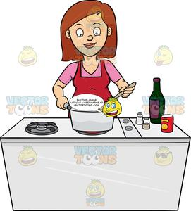 To cook clipart svg library A Woman Looks Happy At The Yummy Dish She Is Cooking svg library