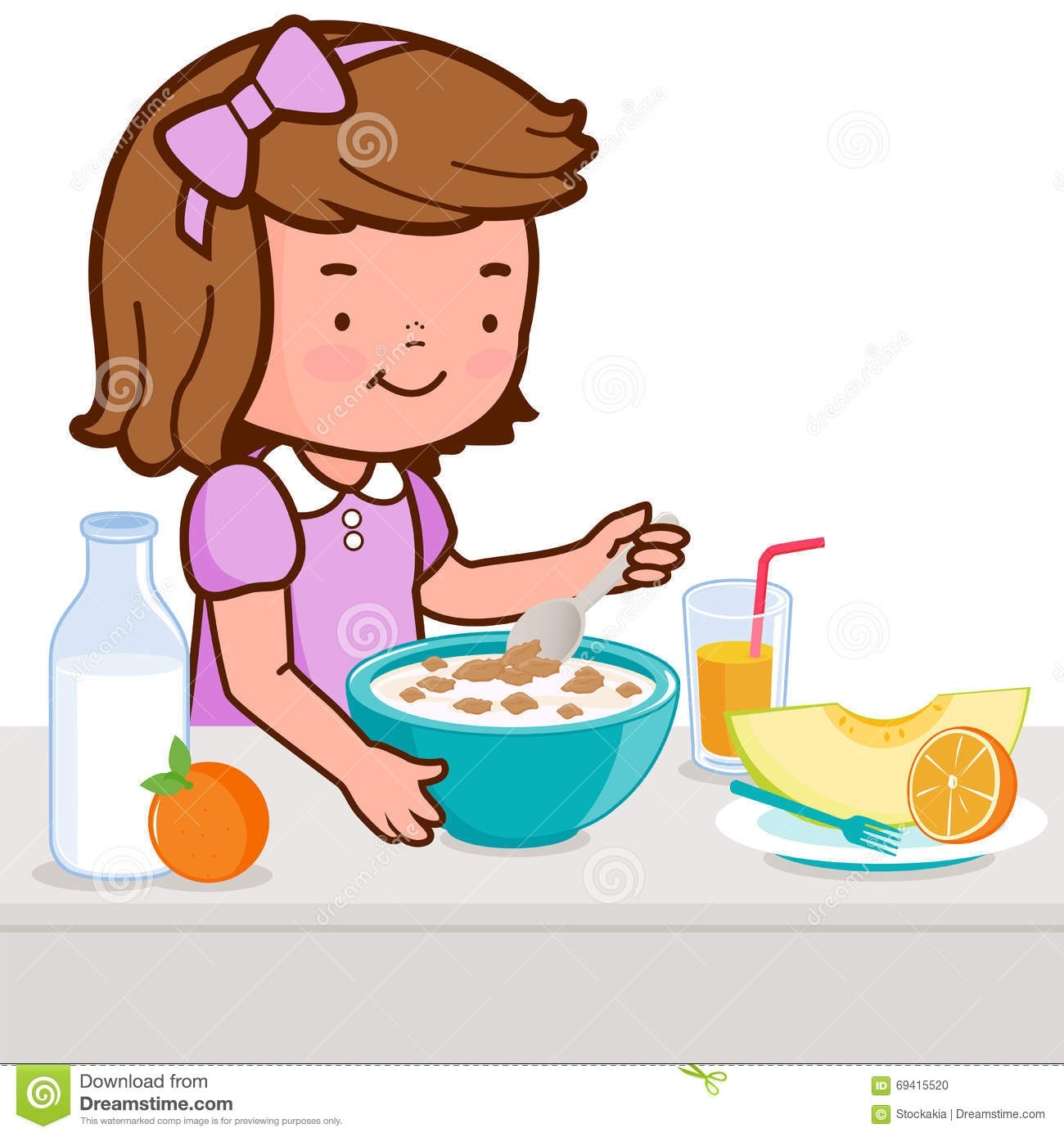 To eat breakfast clipart image library download Little Girl Having Breakfast Stock Vector – Illustration ... image library download
