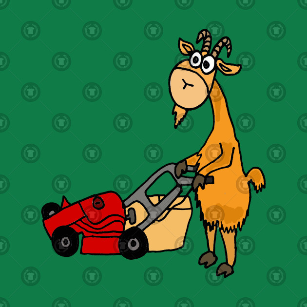 To mow the lawn in spanish clipart svg royalty free library Funny Goat is Mowing the Lawn with a Red Mower svg royalty free library