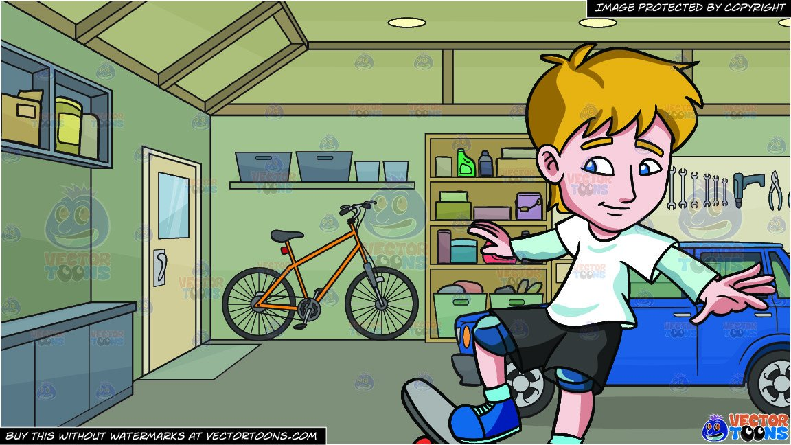 To ride a skateboard clipart clipart royalty free library A Teenager Practicing How To Ride A Skateboard and The Inside Of A Home  Garage Background clipart royalty free library