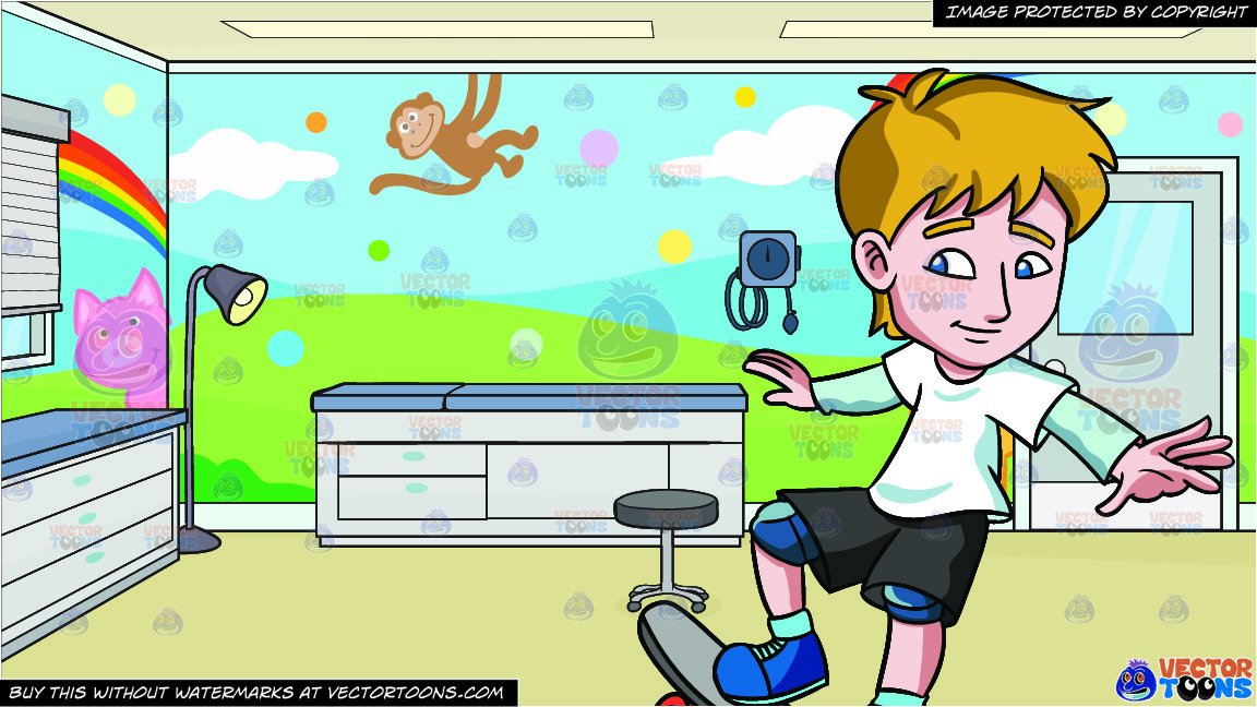 To ride a skateboard clipart graphic free A Teenager Practicing How To Ride A Skateboard and A Pediatric Clinic Room  Background graphic free