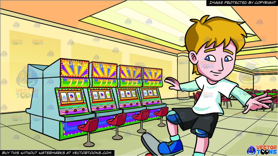 To ride a skateboard clipart clipart A Teenager Practicing How To Ride A Skateboard and A Casino With Slot  Machines And Table Games Background clipart