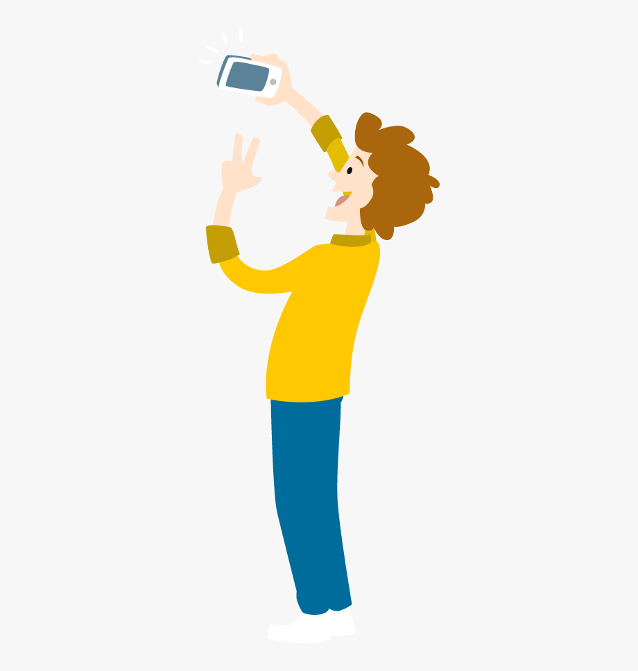 Taking a selfie clipart silhoette clipart black and white Cartoon Young Man Take Selfie By Smartphone - Cartoon ... clipart black and white
