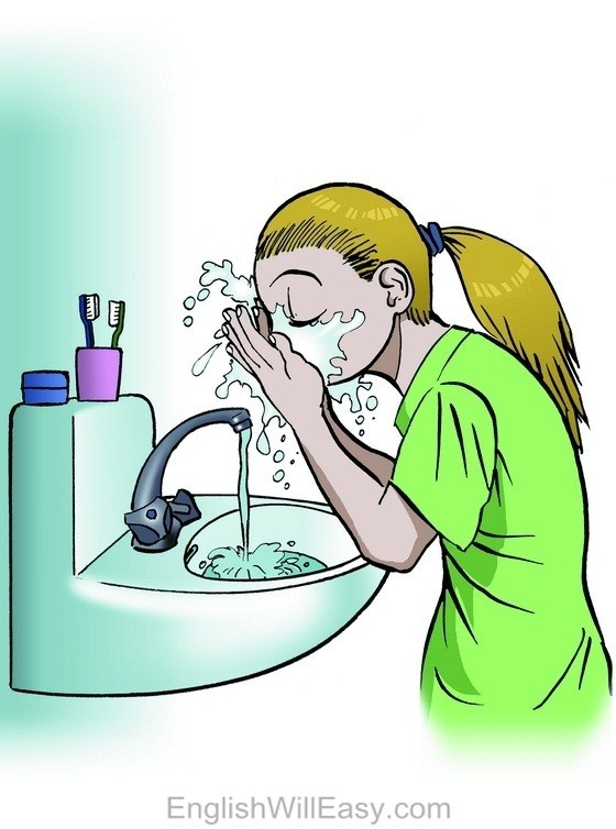 To wash your face clipart