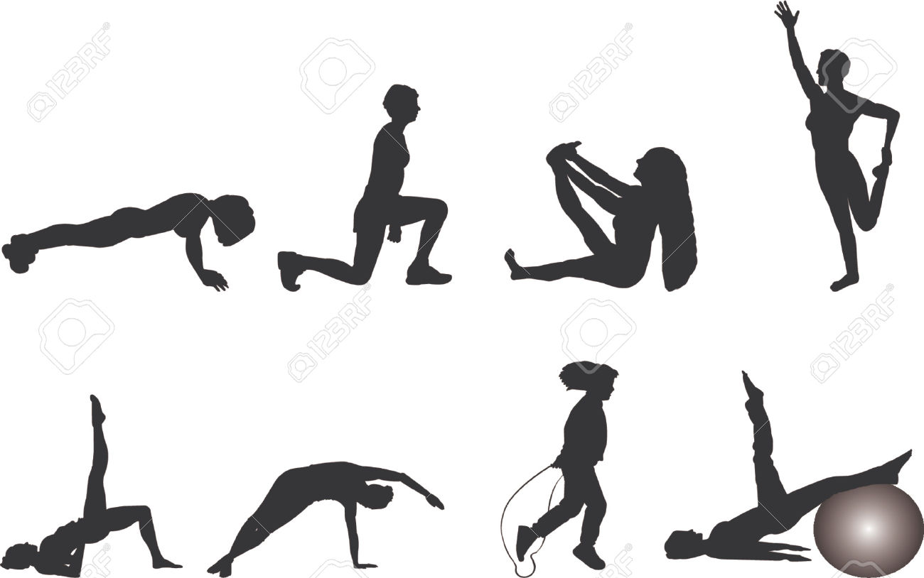 To work out clipart banner black and white Workout woman clipart - ClipartFest banner black and white