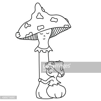 Toadstool clipart black and white clip art transparent library Toadstool Mom and Her Baby IN Bracken Hand Drawn Outline ... clip art transparent library