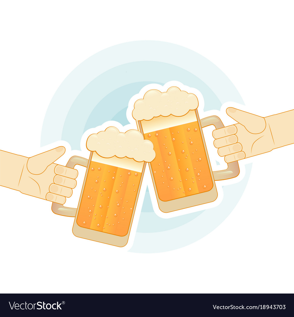 Toasting beer mugs clipart clipart royalty free stock Two human hands toasting with beer mugs flat clipart royalty free stock