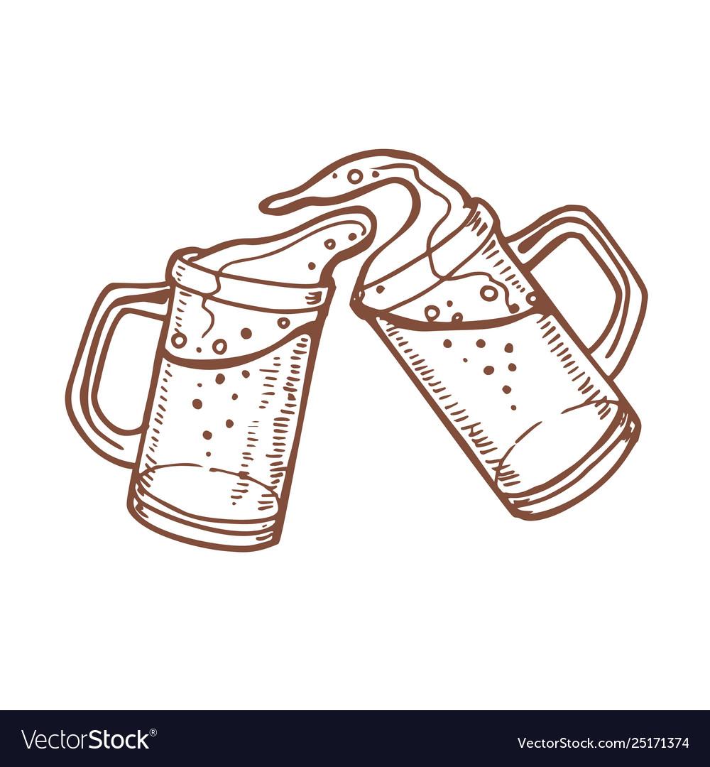 Toasting beer mugs clipart jpg transparent stock Toasting beer mugs in hand drawn style jpg transparent stock