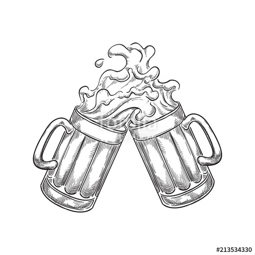 Toasting beer mugs clipart clip transparent library Two toasting beer mugs with splash drinks, sketch vector ... clip transparent library