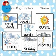 Weather icons clipart for teachers image Free Weather Clipart For Teachers | VCPS | Weather cards ... image