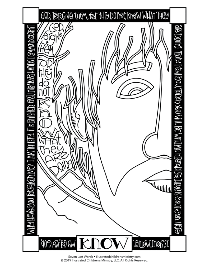 Today you will be with me in paradise clipart image stock Seven Last Words Coloring Pages image stock