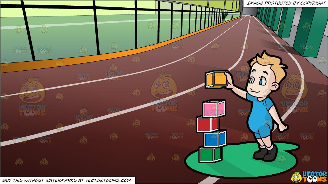 Toddler building with blocks clipart black hair clipart freeuse A Male Toddler Building Blocks and Indoor Running Track Background clipart freeuse