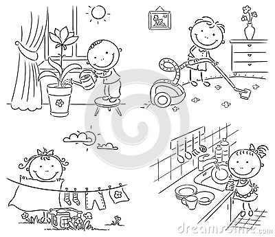 Toddler doing chores clipart black and white svg royalty free download Kids Doing Chores Clipart Black And White svg royalty free download