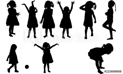 Toddler sillohette clipart graphic free library Toddler Girl Silhouette | Happy Daughter Vector | Child ... graphic free library
