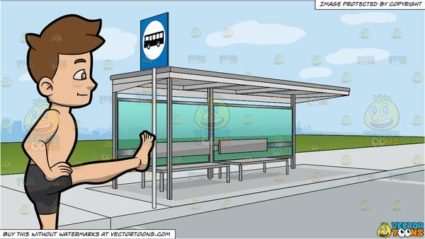 Toe stop clipart picture transparent download A Man Doing The Extended Hand To Big Toe Yoga Pose and A Bus Stop At The  Side Of A Street Background picture transparent download