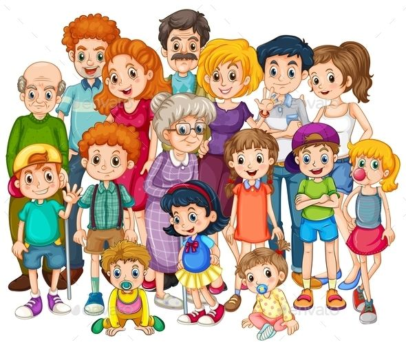 Together as one clipart freeuse Family members happy together in one shot | Vector People ... freeuse