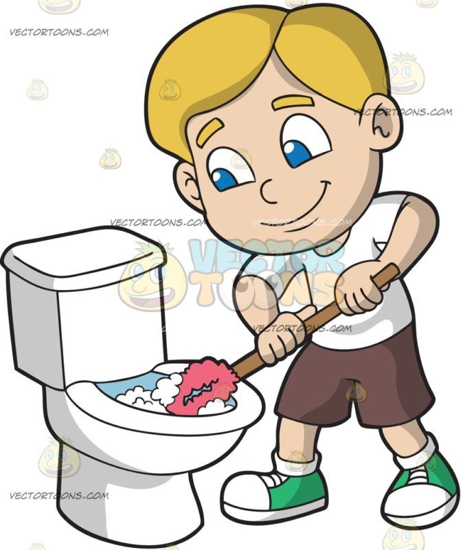 Toileting safety clipart banner free library A Boy Cleaning The Toilet : A boy with blonde hair wearing a ... banner free library