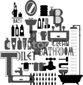 Toilettries clipart black and white clipart royalty free Silhouette Pattern of Bathroom and Toiletries IN Black and ... clipart royalty free