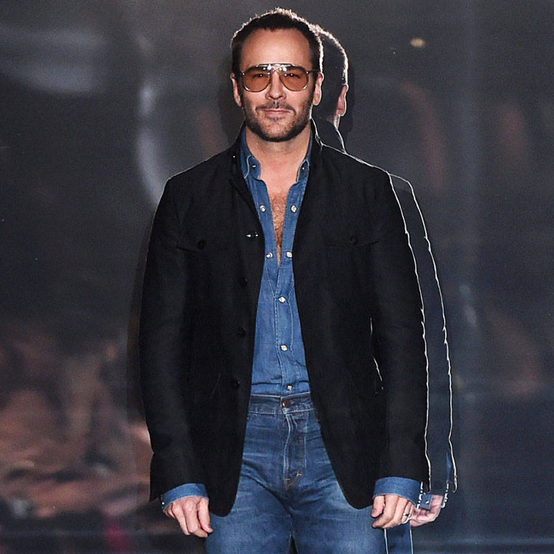 Tom ford banner freeuse stock Tom Ford Wearing Denim on Denim - Tom Ford Bows in Denim Spring 2015 banner freeuse stock