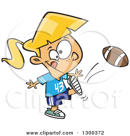 Tom girl clipart image library Clipart of a Cartoon Blond White Tom Boy Girl Kicking a Football ... image library