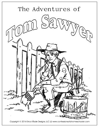 Tom sawyer clipart graphic black and white stock The Adventures of Tom Sawyer Unit Study | homeschooling reading ... graphic black and white stock