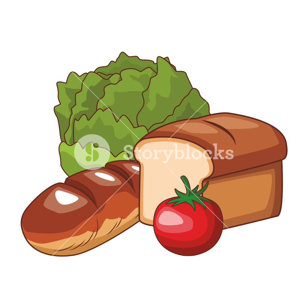 Tomato bread clipart clip library library vegetable and bread lettuce tomato vector illustration ... clip library library