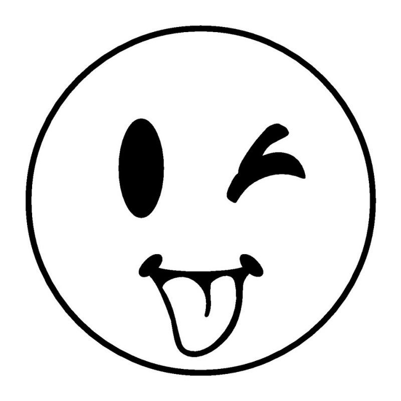 Tongue smile face clipart black and white clipart free download Sticking tongue out while winking smiley | faces | Emoji ... clipart free download