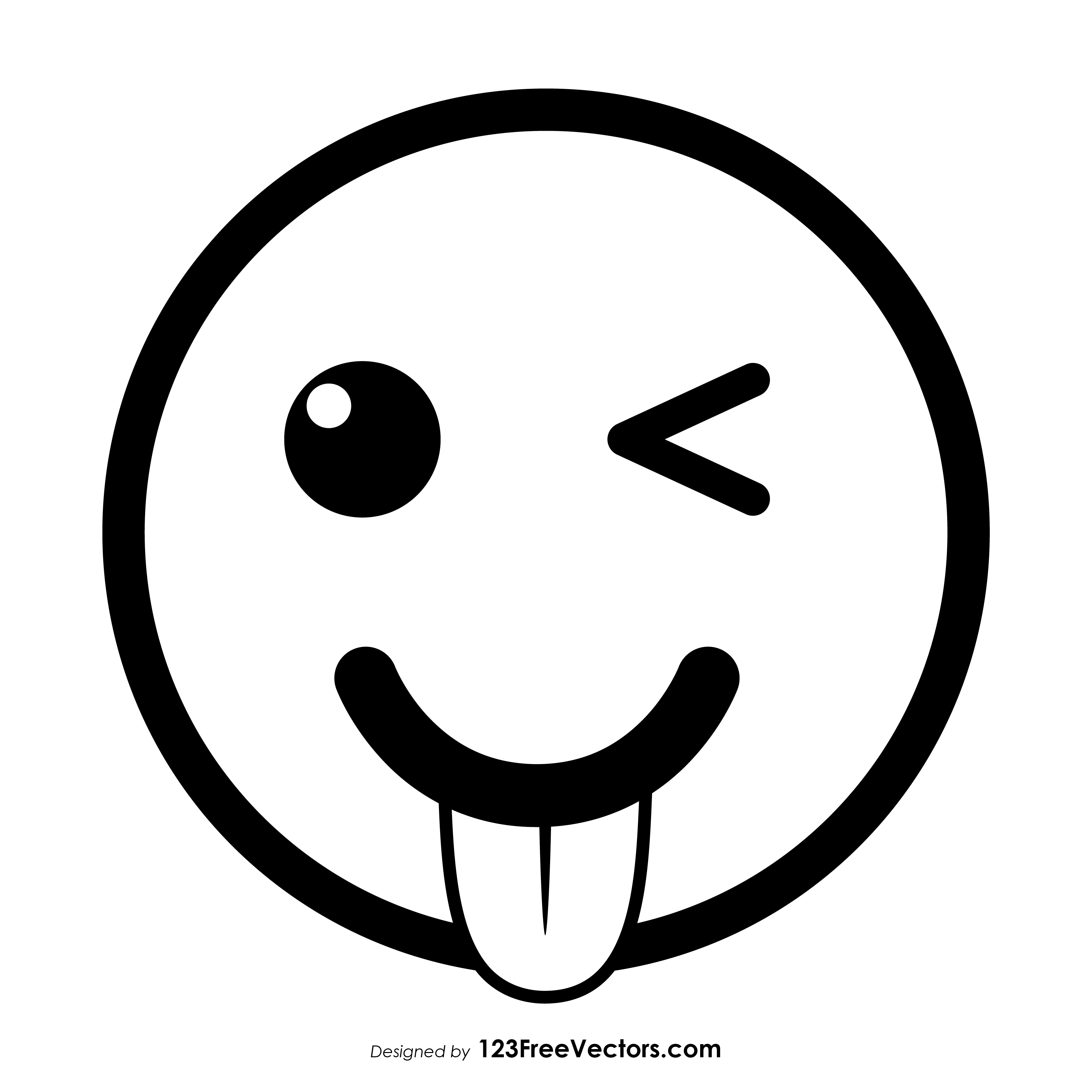 Tongue smile face clipart black and white clip art transparent download Winking Face with Tongue Emoji Outline Clipart clip art transparent download