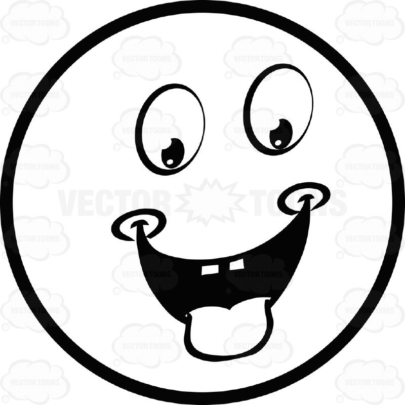 Tongue smile face clipart black and white image royalty free Hungry Dimpled Large Eyed Black and White Smiley Face ... image royalty free