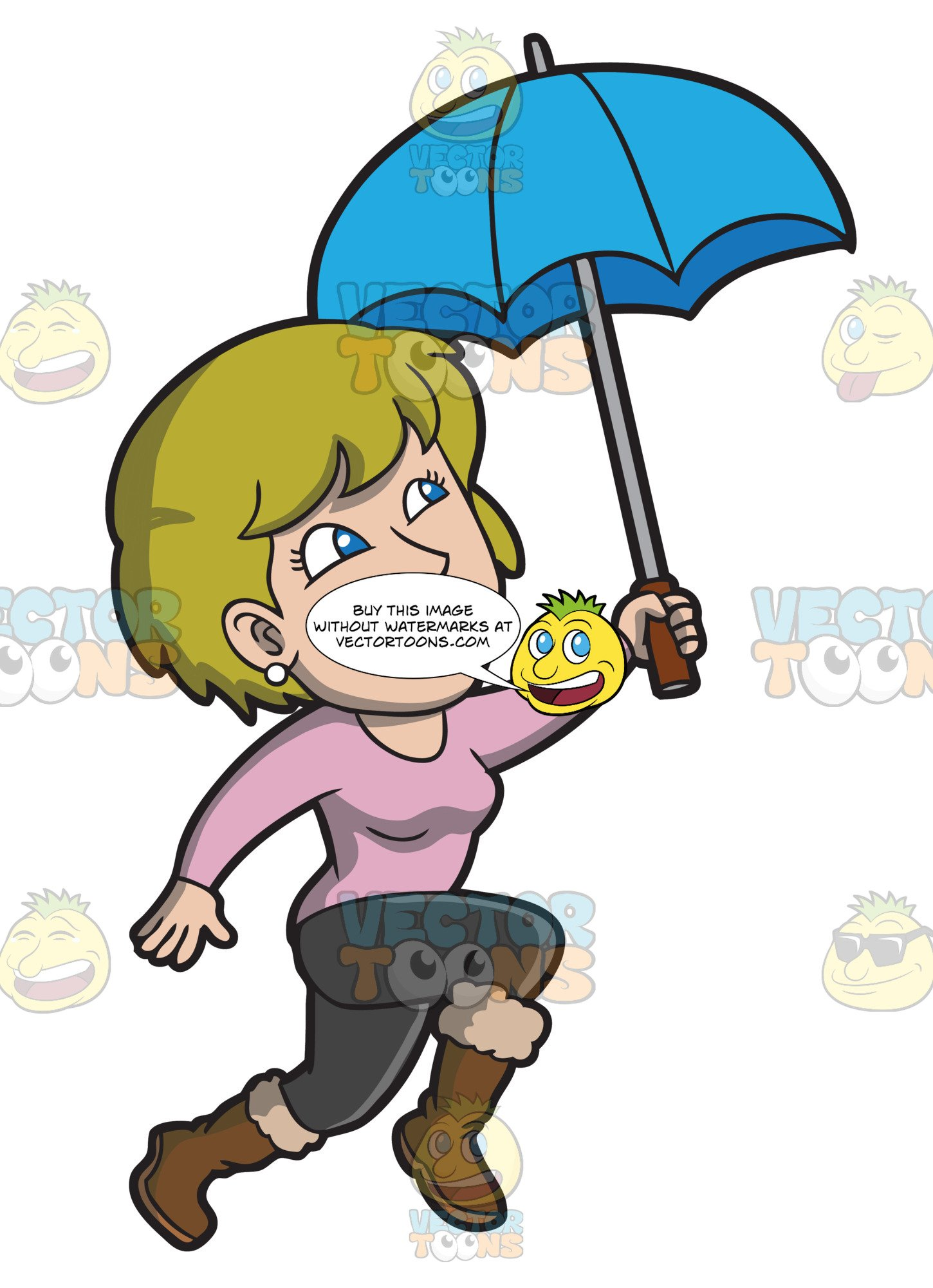 Too much rain clipart png stock A Happy Woman Hopping In The Rain png stock