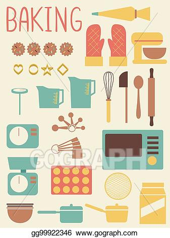Tools and equipment clipart image library download Vector Illustration - Baking tools equipment flat ... image library download