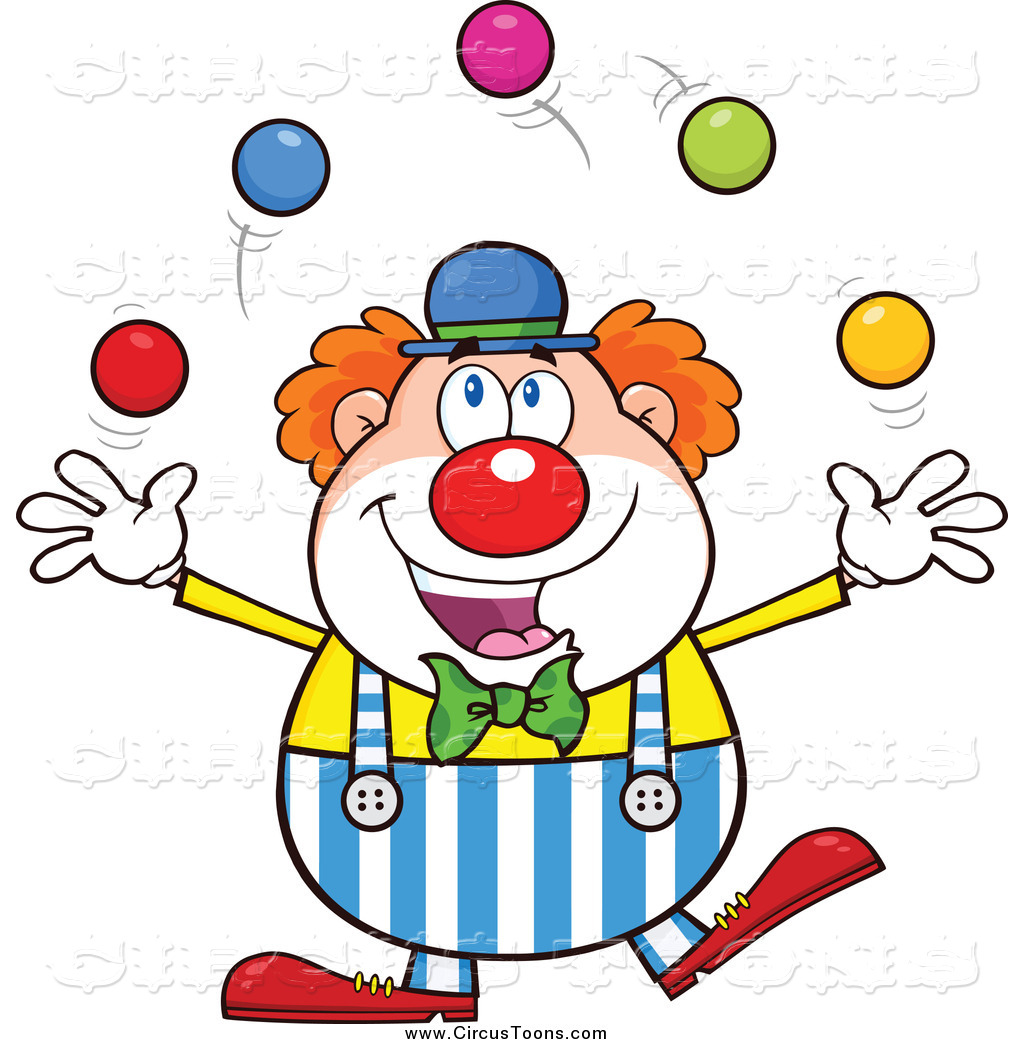 Toon clipart banner freeuse Circus Clipart of a Happy Clown Juggling Colorful Balls by ... banner freeuse