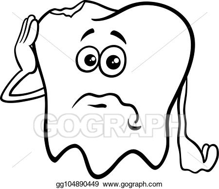 Tooth caricature clipart clip art library download Vector Illustration - Tooth cartoon character with cavity ... clip art library download