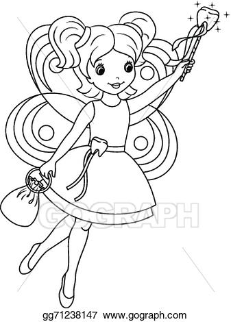 Tooth fairy clipart black and white picture free Vector Art - Tooth fairy coloring page. EPS clipart ... picture free