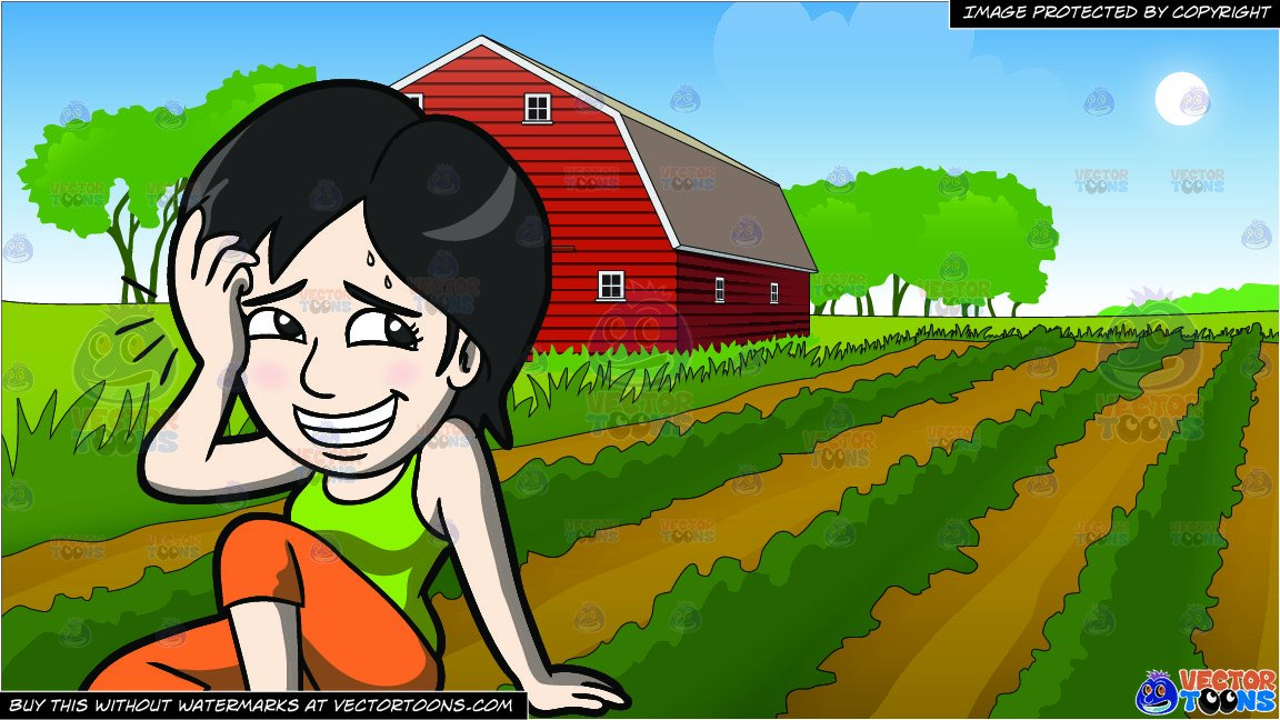 Top down farm clipart graphic free download An Embarrassed Woman Falling Down The Floor and Farm Field And Barn  Background graphic free download