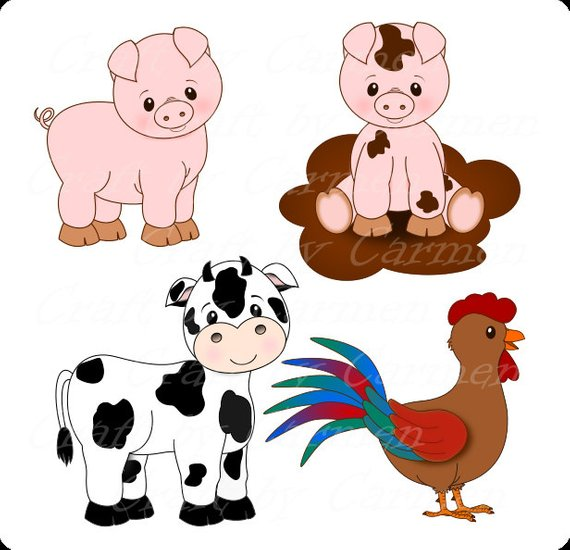 Top down farm clipart image library library Farm animals , farm clip art, cute animals, barn,fruit trees ... image library library