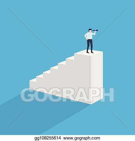 Top of stairs clipart clip art free Vector Clipart - Man with monocular on top of stairs. Vector ... clip art free