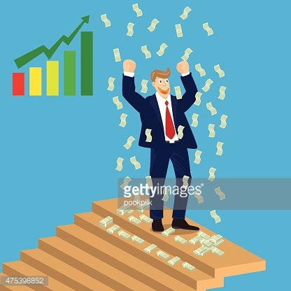 Top of stairs clipart svg freeuse download Business Man Cheer ON Top of Stairs With Falling Money ... svg freeuse download