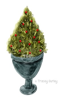 Topiary plant christmas clipart picture library download Christmas Tree Topiary in Urn clip art, Printable Tracey Gurley Designs picture library download