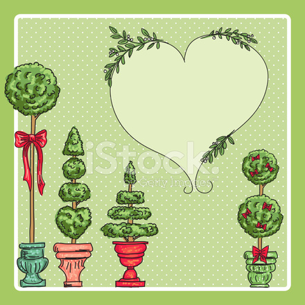 Topiary plant christmas clipart picture free download Cute Topiary Christmas Trees Background Stock Vector ... picture free download